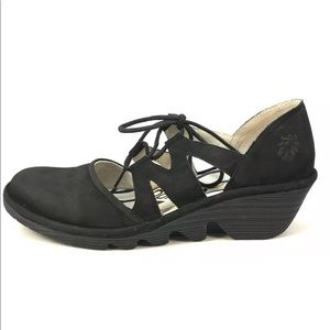 """Fly London Women's Black Suede """"Phis 843"""" Shoes"""